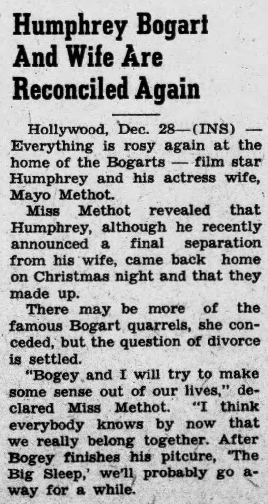 Humphrey Bogart, Mayo Methot, Christmas, Hollywood